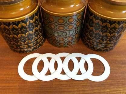 Hornsea flour and biscuit jar replacement seals - set of five